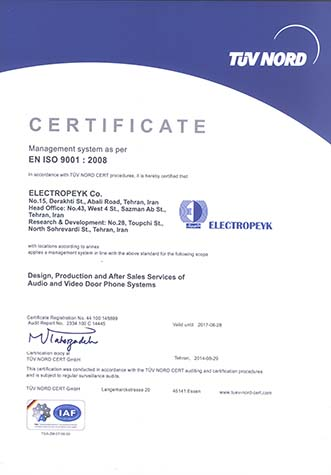 دریافت گواهینامه EN ISO 9001:2008  از شرکت TUV NORD
